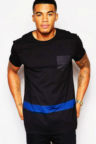 Black Blue Casual T-shirt