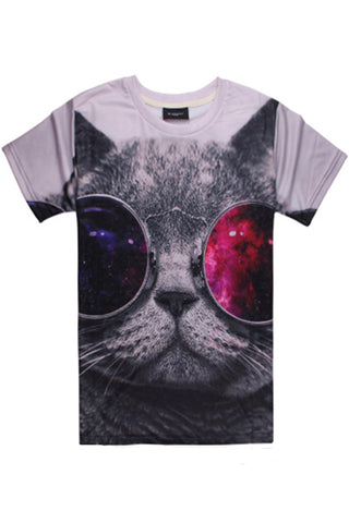 3D Cat Printed T-Shirt