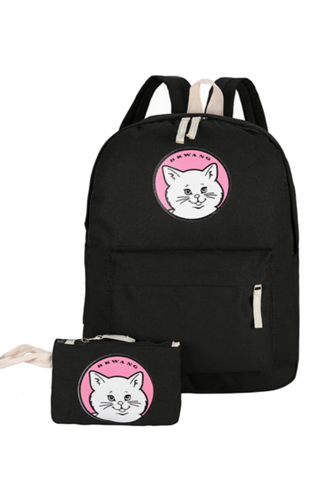 Cute Cat Printed Canvas Backpack With Purse