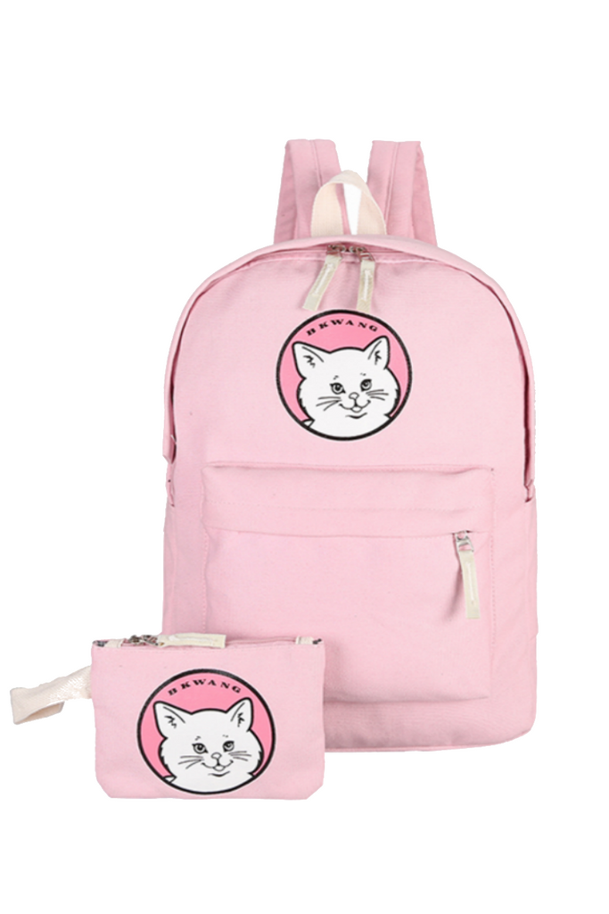 Cute Cat Printed Canvas Backpack In Pink