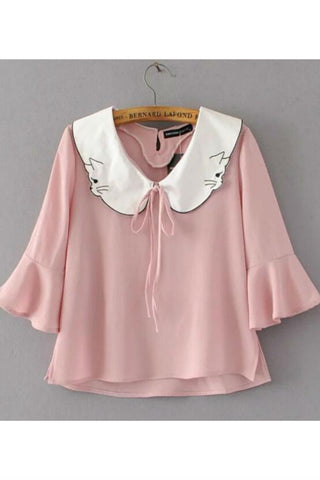Cat Collar Ruffle Sleeves Top