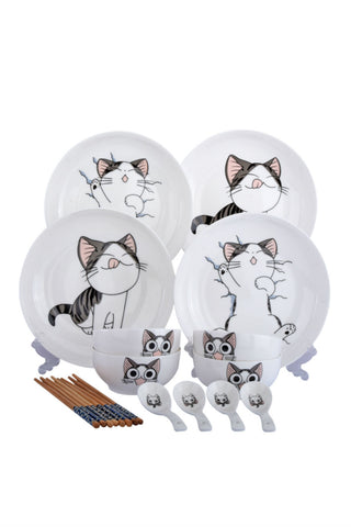 14pcs Cute Cat Tableware