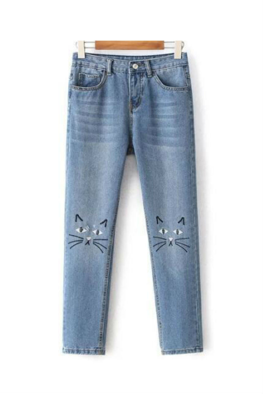 Kitten Cat Face Embroidery Jeans