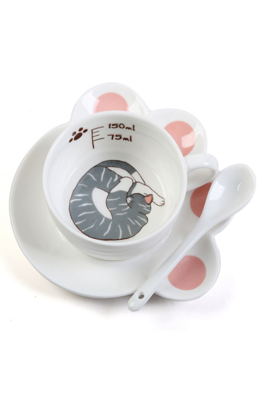 Cute Cat Paw Mug Set