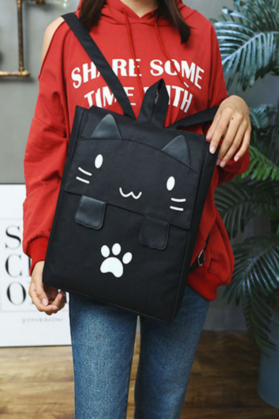 Cute Black Cat Canvas Backpack