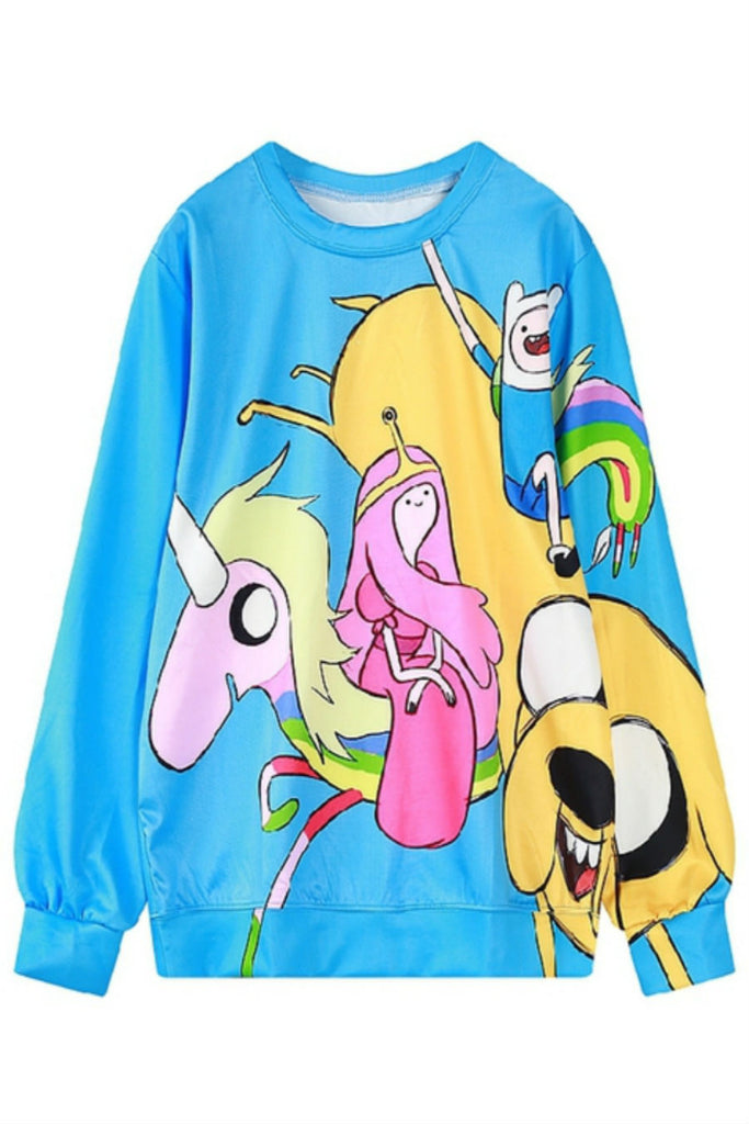 Cute Blue Cartoon Print Sweater