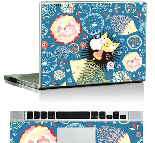 Macbook Cats And Fishes Skin Sticker. Art Decals By Moooh!!