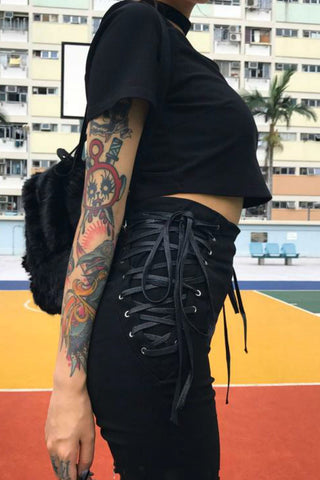 Side Chick Lace Up Pants
