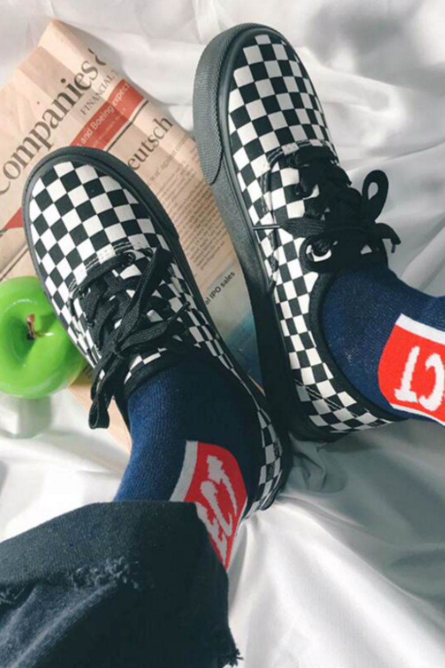 Checkerboard Lace Up Sneakers