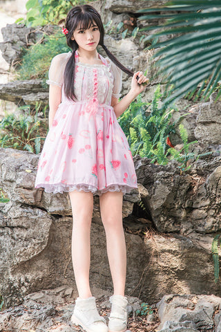 Cute Strawberry Pink Lace Dress