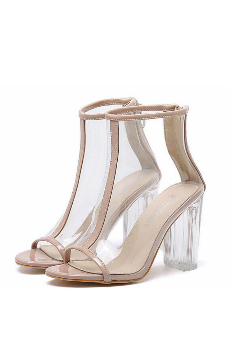 Beige Peep Toe Clear Booties