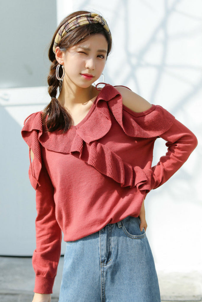 Cold Shoulder Ruffle Sweater Red