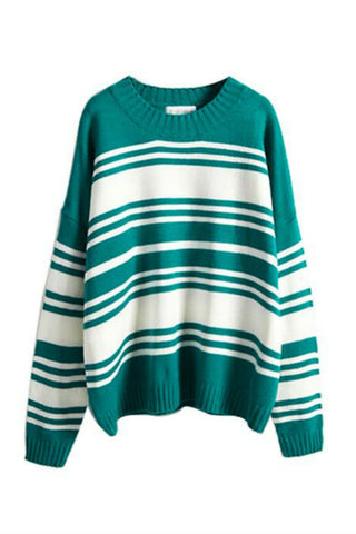 Stripe Round Neck Knitted Sweater