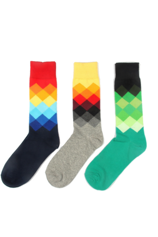 Colorful Crew Unisex Socks-3 Pack