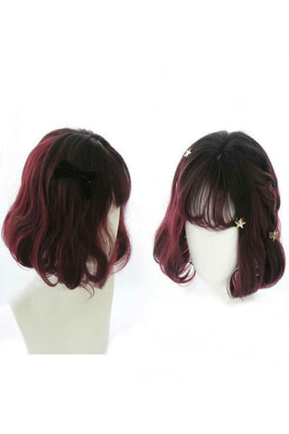 Burgundy Mixed Curly Short Wig