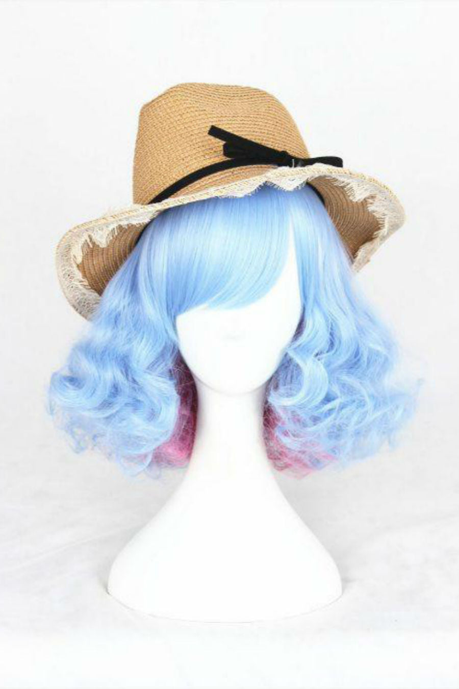 Blue Pink Curly Cosplay Wig