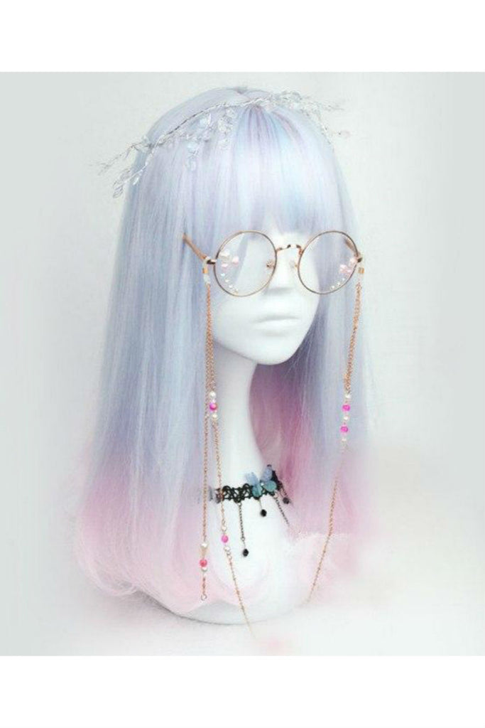 Pastel Blue Pink Mixed Wig