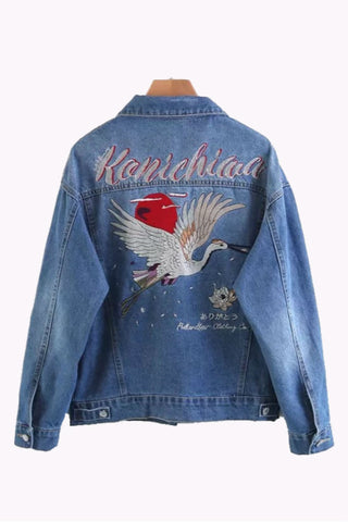 Crane Embroidery Denim Jacket