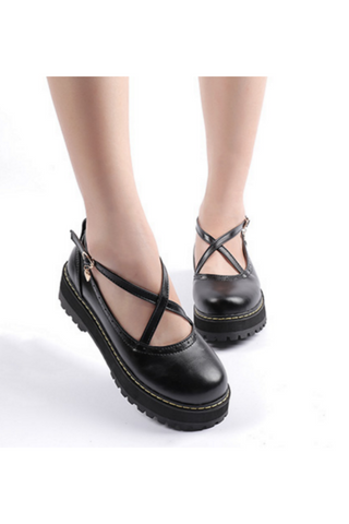 Black Crisscross Strap Shoes