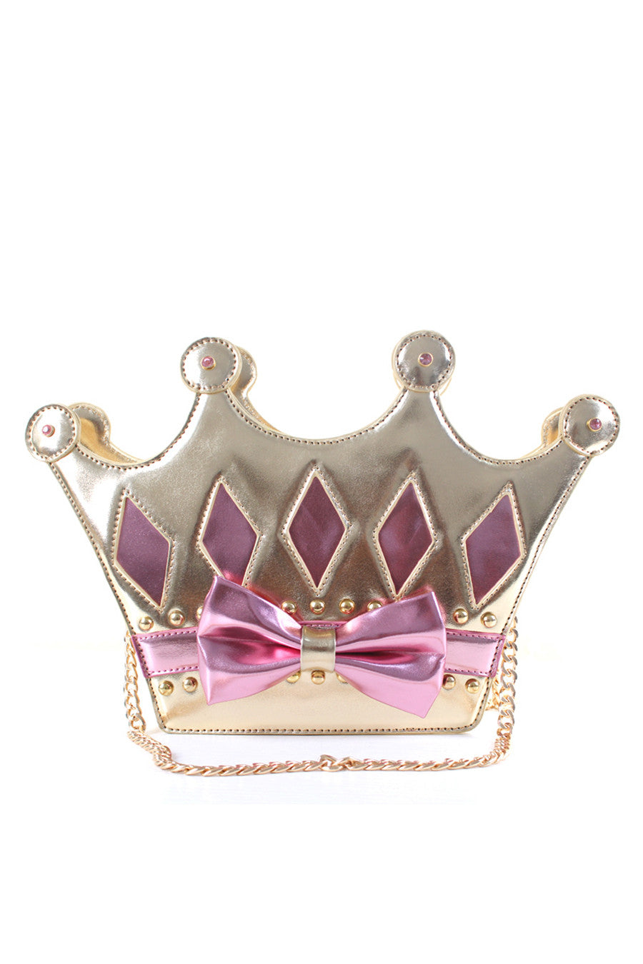 Gold And Pink Crown Chain Bag