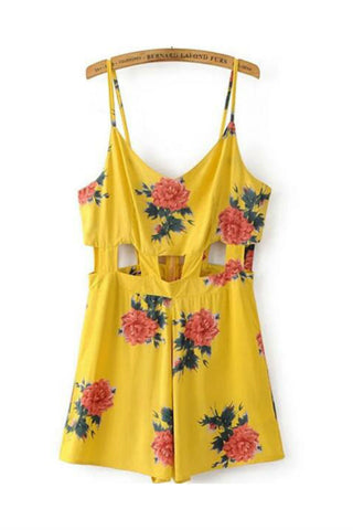 Cut Out Strappy Floral Romper In Yellow