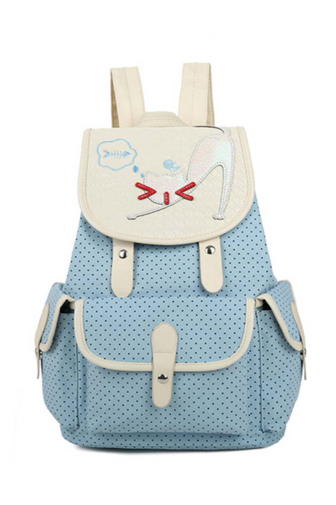 Cute Cat Dots School Backpack In Blue
