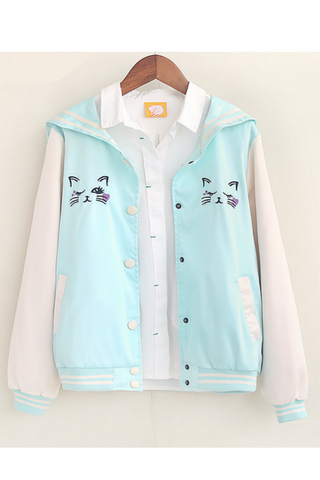 Cute Blue Cat Nautical Jacket