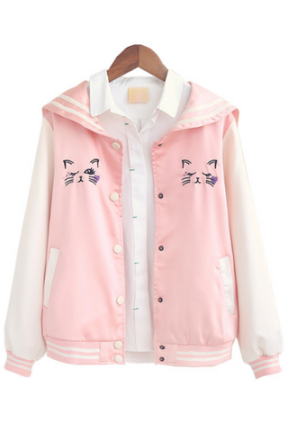 Cute Pink Cat Nautical Jacket