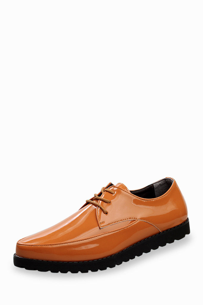 Fashion Patent Shoes In Orange