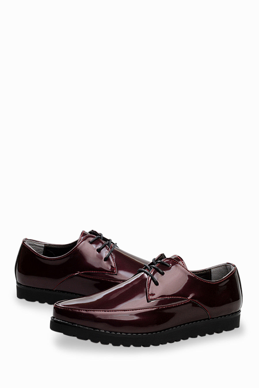 Patent Shoes In Burgundy