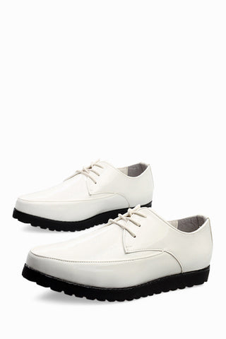 Fashion Patent Shoes In White