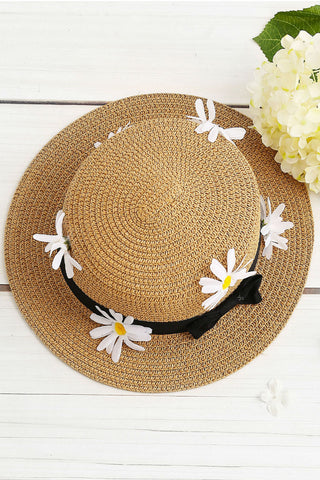 Daisy Straw Hat With Bow Tie