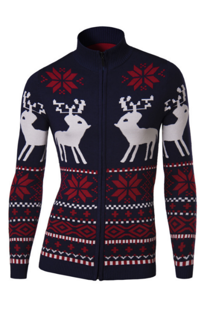 Men's Deer Snow Pattern Knit Cardigan In Navy