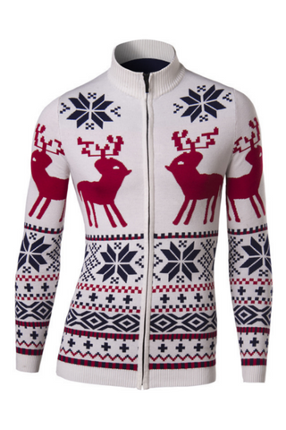Men's Deer Snow Pattern Knit Cardigan In Beige