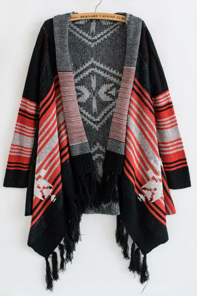 Stripe Tassel Knitting Poncho