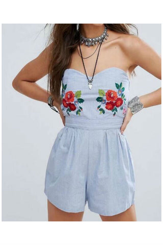 Floral Embroidered Strapless Romper