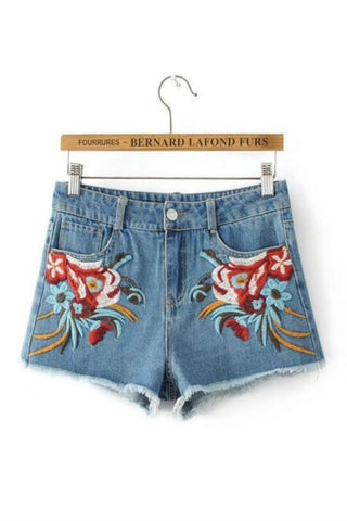Flower Embroidered Frayed Denim Shorts