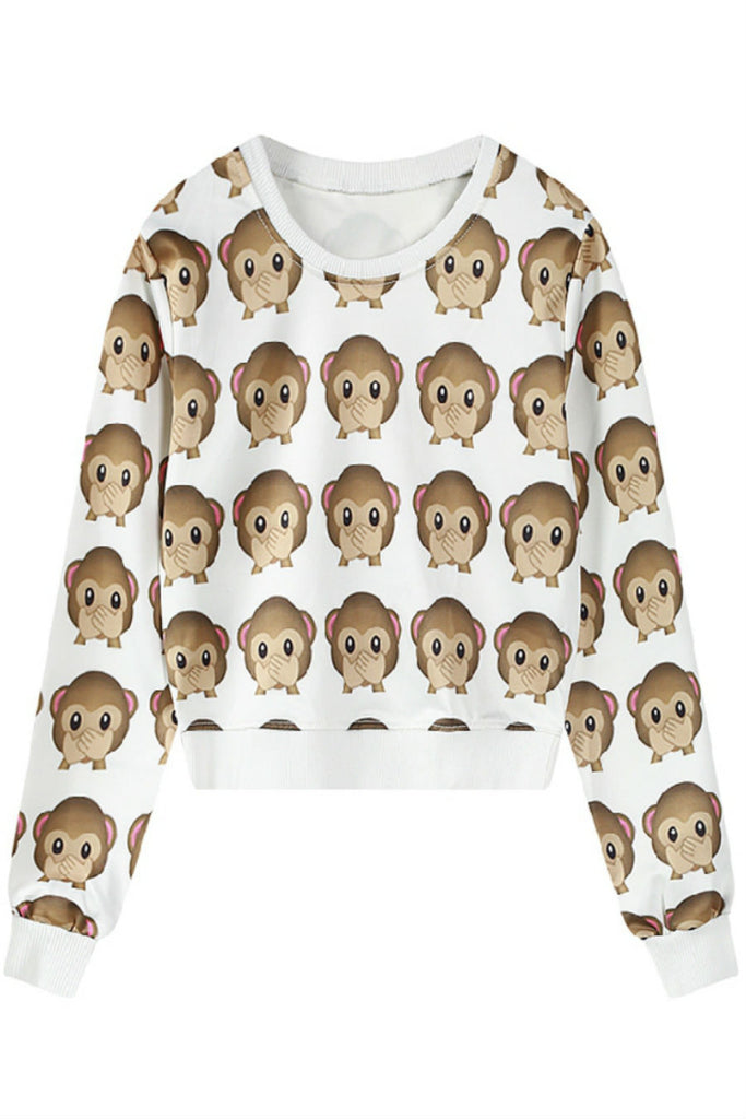 Cute Monkey Emoji Print Sweater