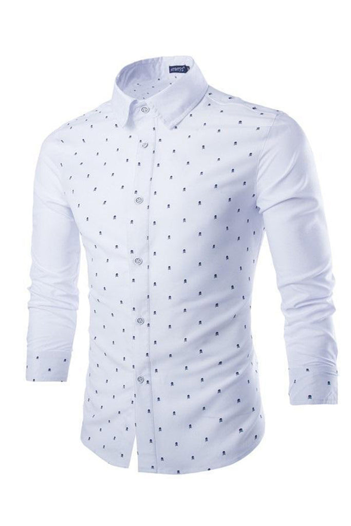 Tiny Skull Printed White Shirt