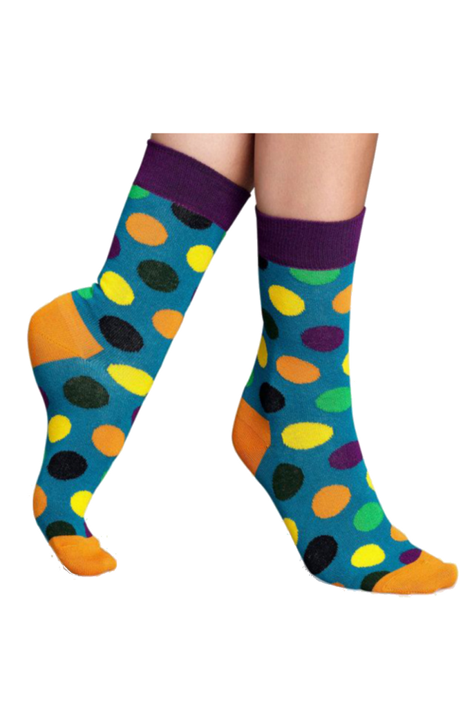 Polka-dot Unisex Socks In Blue