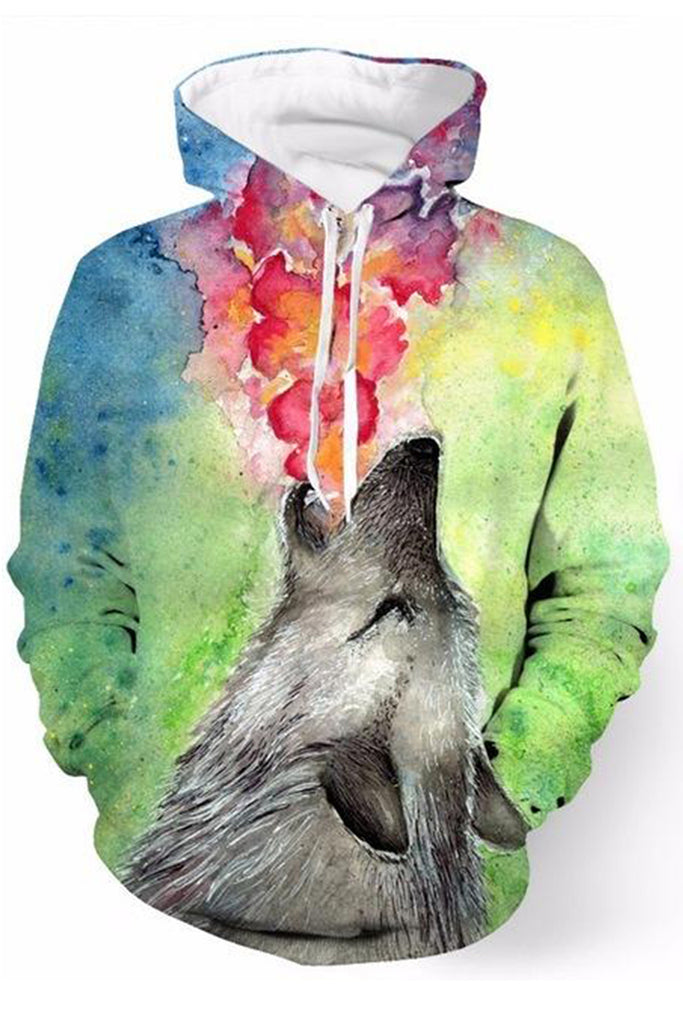 Floral Wolf 3D Hooded Sweater