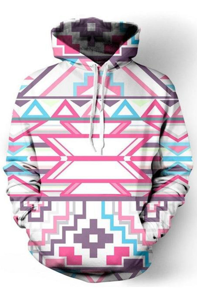 Ethnic Print 3D Hooded Sweater