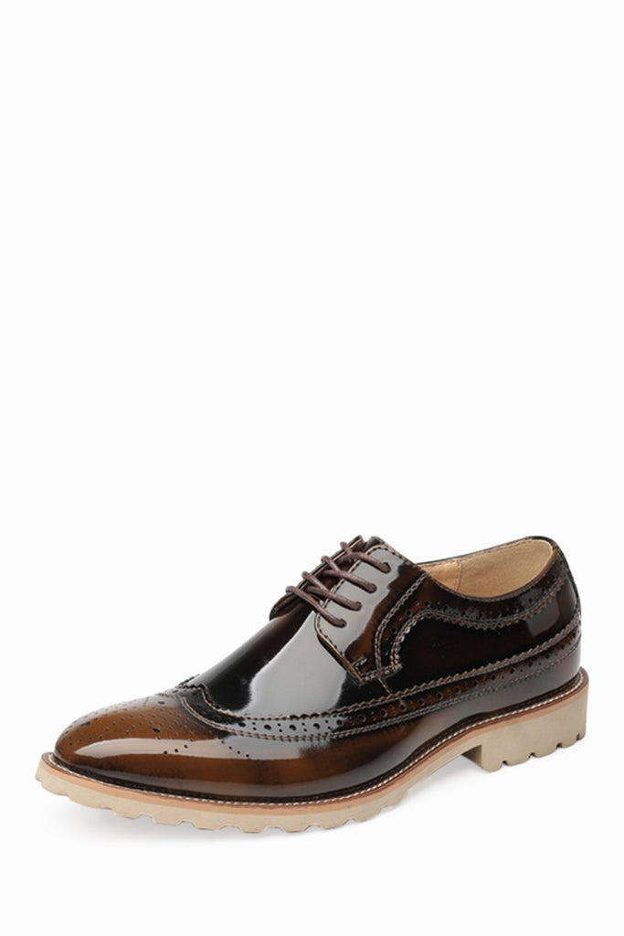 Brogue Bronze Patent Dress Shoes