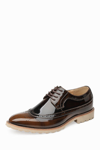 Brogue Patent Men's Dress Shoes In Bronze