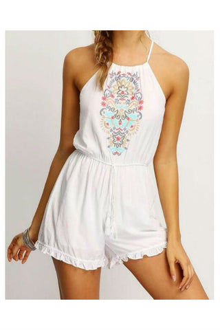 Ethnic Floral Embroidered Strappy Romper
