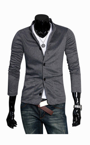 Man Dark Grey Collar Jacket