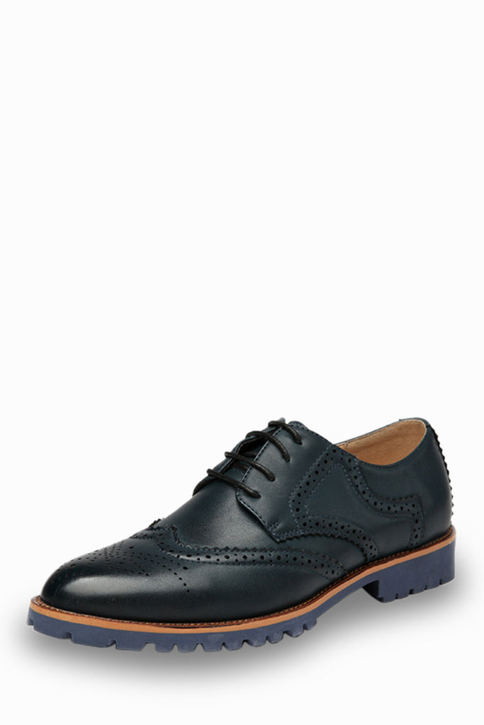 Fashion Brogue Shoes In Navy