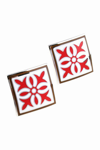 Fashion Red Floral Cufflinks For Men