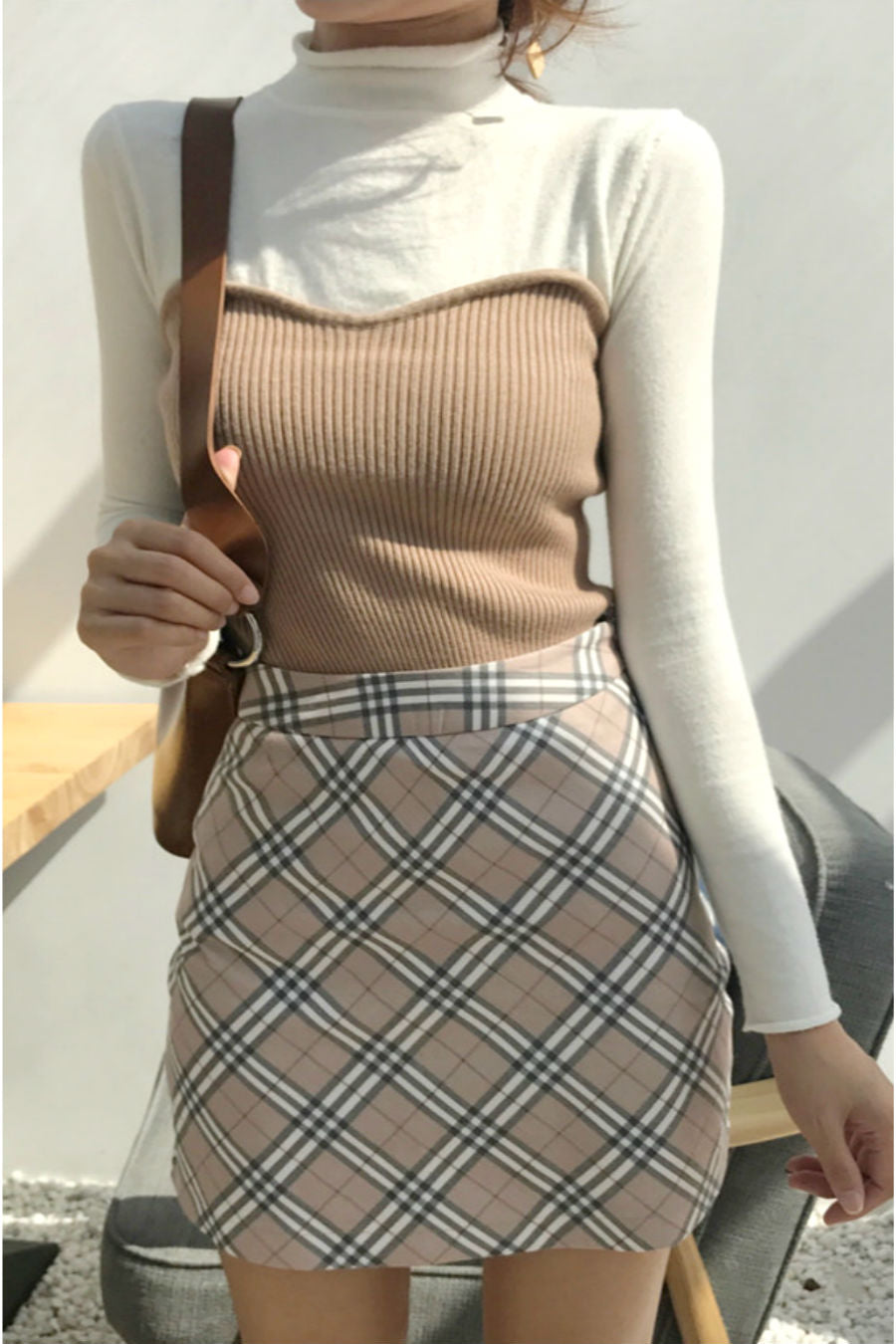 Fake Two Pieces Knitted Top