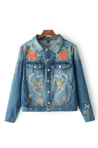 Bird Floral Embroidery Denim Jacket